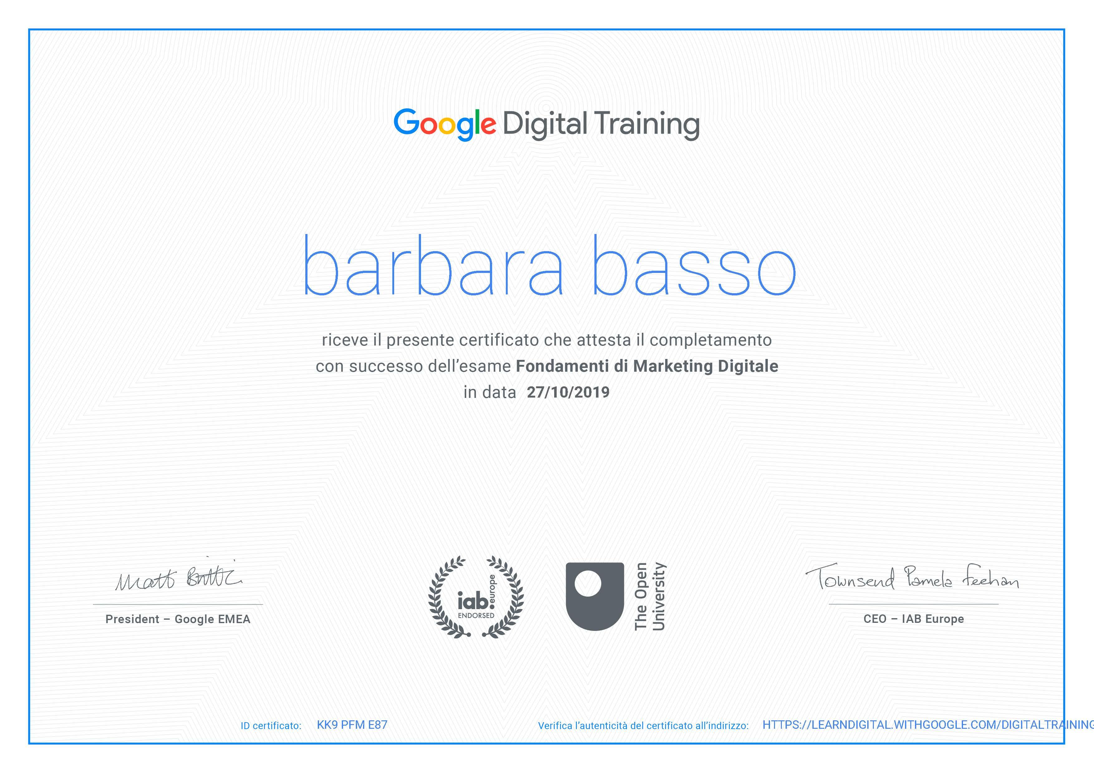 certificato digital marketing