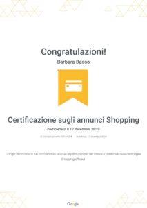 Certificazione Google Ads Shopping