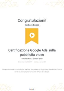 Certificazione Google Ads You Tube